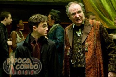 Harry Potter and professor Horace Slughorn at professor Slughorn`s Christmas party