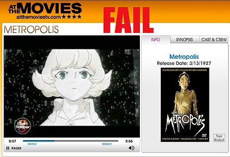 Metropolis was win, and Ebert was win. Roeper was fail, and this was an epic fail.