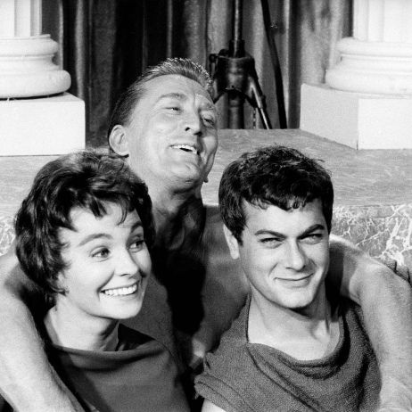 Jean Simmons, Kirk Douglas and Tony Curtis