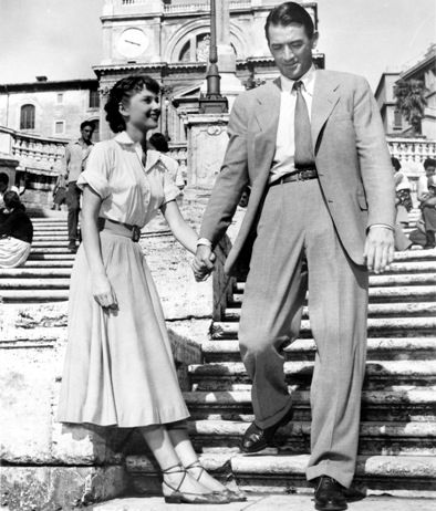 Audrey Hepburn and Gregory Peck on the Spanish Steps in Rome
