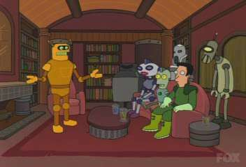 Monique antonio the human calculon robot on the right