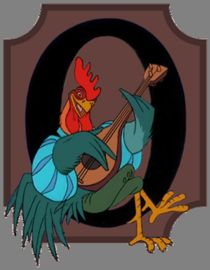 cartoon of rooster playing lute