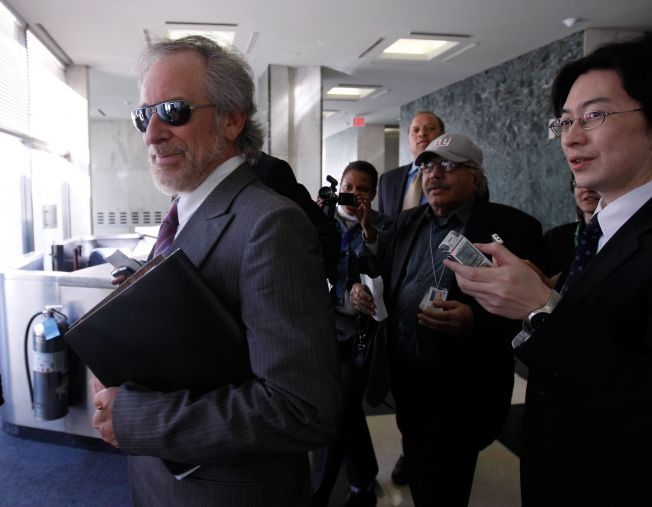 Steven Spielberg Meets with the UN Secretary General - April 15, 2008